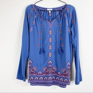 J Jill Imperial Blue Embroidered Peasant Top
